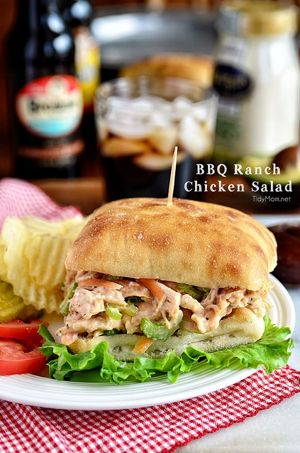 BBQ Ranch Chicken Salad Sandwich. This flavorful chicken salad comes together quickly and easily.....it's guaranteed to be a hit with the entire family! BBQ Ranch Chicken Salad recipe at TidyMom.net #chicken #chickensalad #sandwich #recipe #bbq #ranch