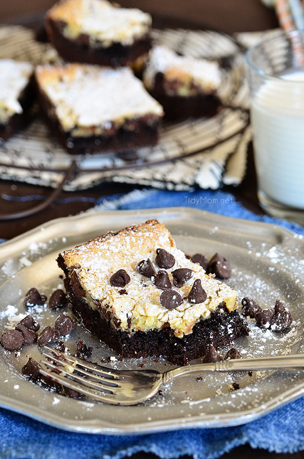 Chocolate Chip Gooey Butter Cake. So delicious you wont want to share! recipe at TidyMom.net