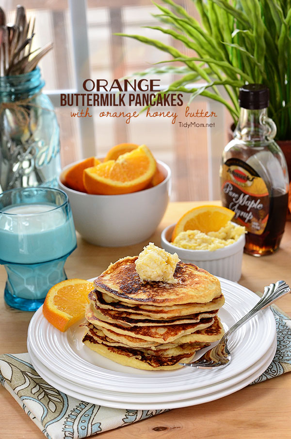 Orange Buttermilk Pancakes-light and fluffy with a hint of orange served with whipped orange honey butter recipe at TidyMom.net
