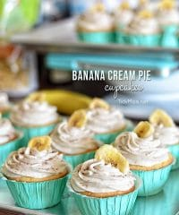 Banana Cream Pie Cupcakes: French vanilla cupcake with banana custard filling and banana buttercream frosting. recipe at TidyMom.net