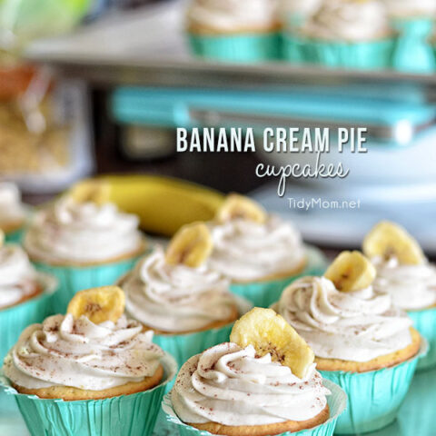 Light, tender vanilla cupcake filled with a luscious banana cream custard and topped with a banana buttercream.....reminiscent of banana cream pie. Print the full recipe for Banana Cream Pie Cupcakes at TidyMom.net