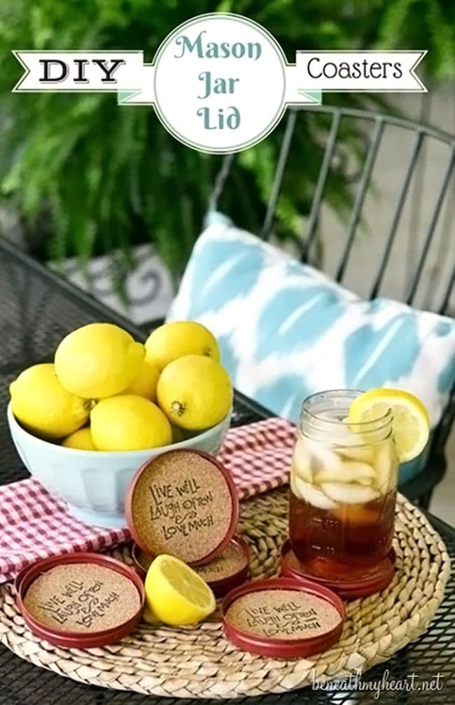 DIY mason jar cork coasters set