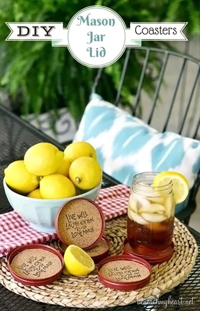 DIY mason jar cork coasters set