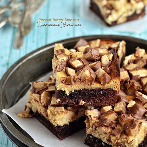 Peanut Butter Snickers Cheesecake Brownies at TidyMom.net