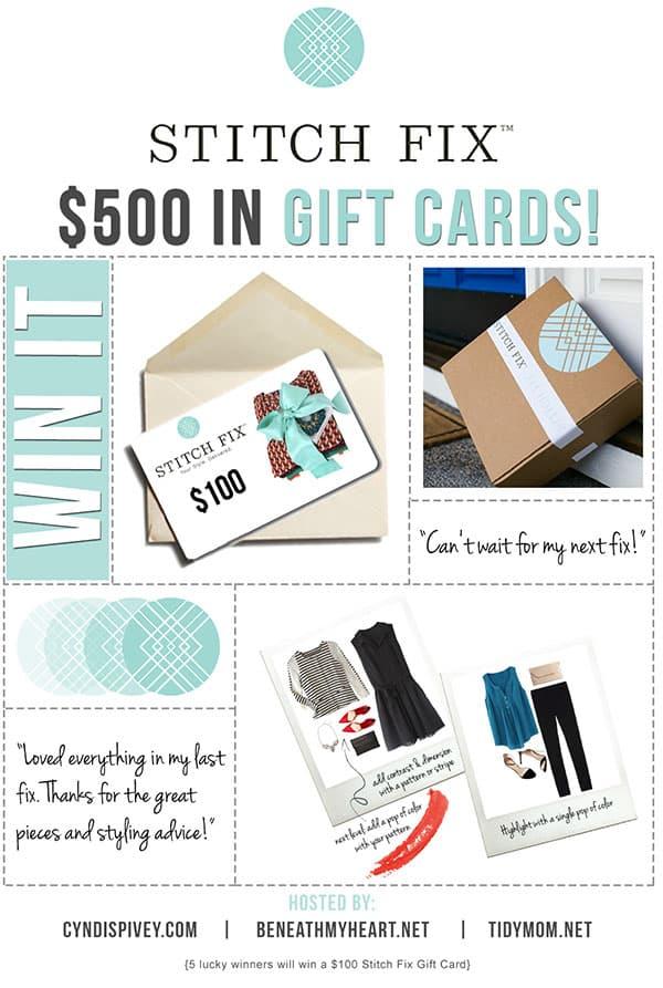 5 lucky winners will win a $100 Stitch Fix Gift Card!!