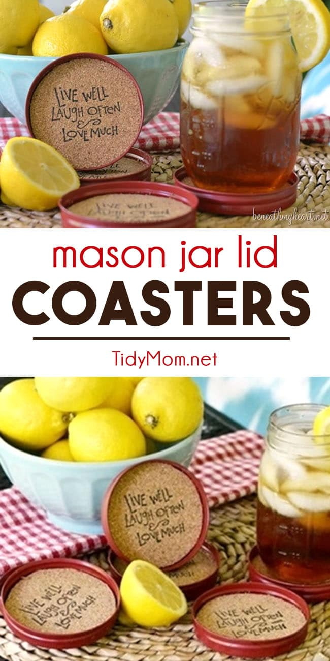 Recycle mason jar lids into coasters!! These DIY Mason Jar Lid Coasters are an easy craft and perfect for a party or cute gift idea! Just follow this easy DIY tutorial to create your very own mason jar cork coasters set  at TidyMom.net  #masonjarlids #masonjar #craft #diy  #cork