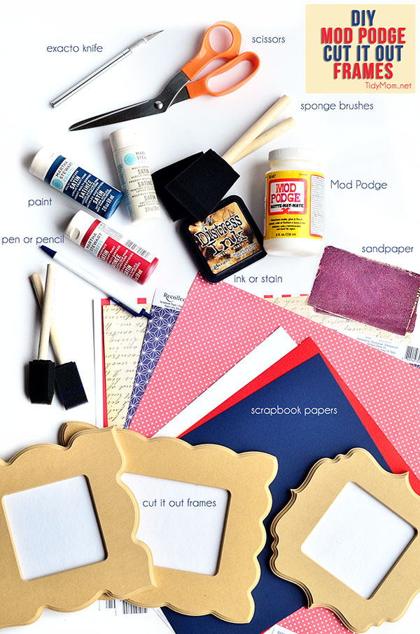 Supplies to make a mod podge cut it out frame. tutorial at TidyMom.net