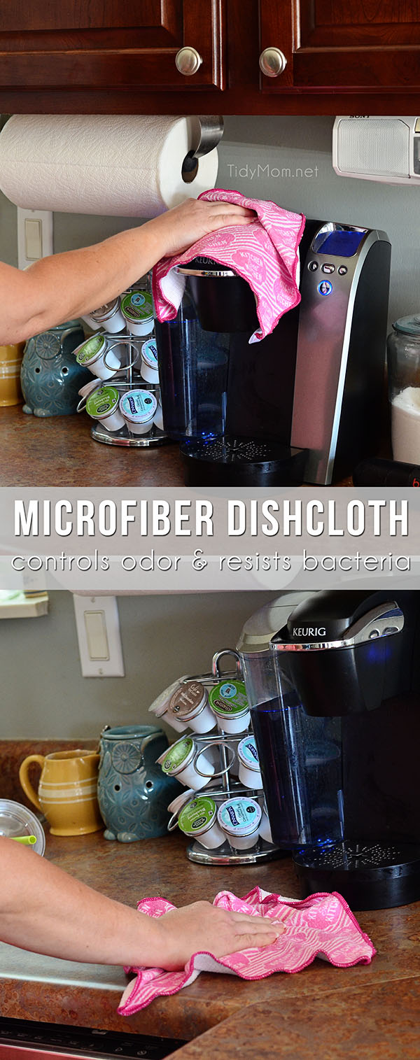 Scotch-Brite Microfiber Dishcloth controls oder and resists bacteria - washable and reusable
