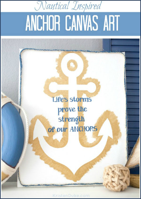DIY Anchor Canvas Art from Kristen Duke Photgraphy.  Tutorial at TidyMom.net #sparkyoursummer