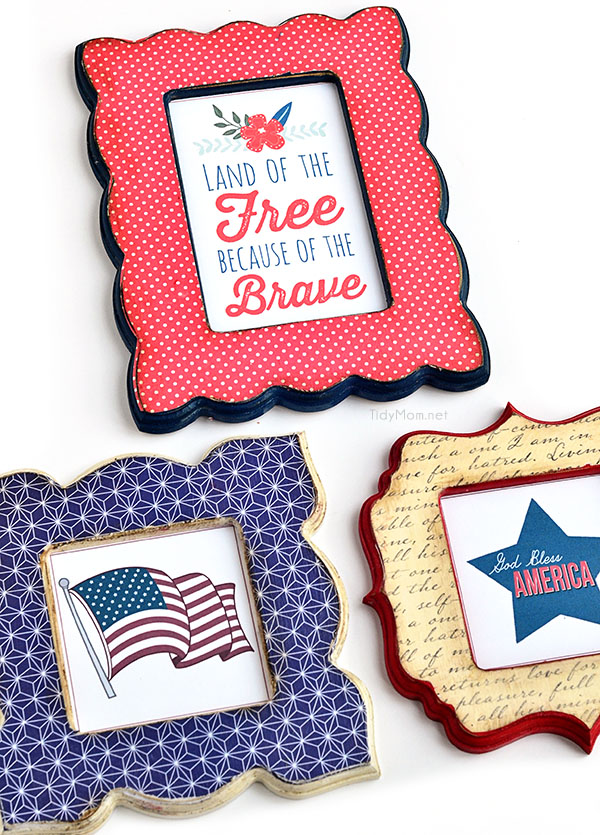 DIY Patriotic Mod Podge Frames tutorial + free printables at TidyMom.net