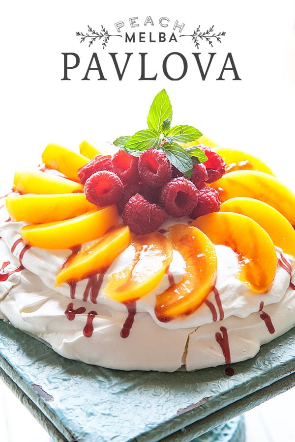 Easy Peach Melba Pavlova on a tray