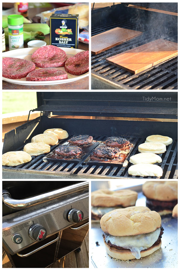 Learn how to Plank Grill Burgers! Plank grilling is becoming a favorite way to grill at our house! It's no longer just for fish! Find my recipe for Peppercorn and Provolone burgers along with everything you need to know about plank grilling. Recipe and video tutorial at TidyMom.net