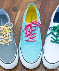 DIY upcycled teeshirt shoe laces