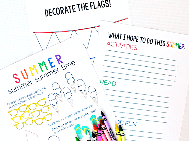 Summer Activity Worksheet free printables