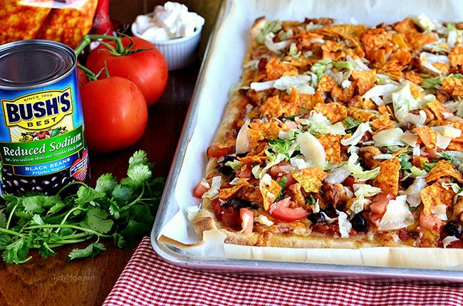Taco Pizza on a sheet pan
