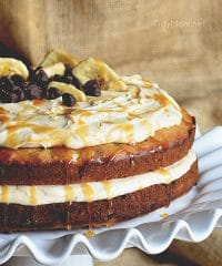 Chocolate Chip Banana Cake with Salted Caramel Frosting recipe at TidyMom.net