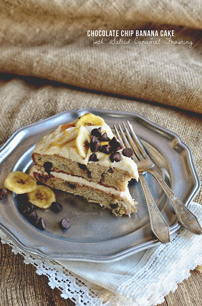 Slice of  Chocolate Chip Banana Cake with Salted Caramel Frosting recipe at TidyMom.net