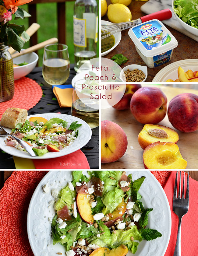 Feta, Peach & Prosciutto Salad recipe at TidyMom.net Dine Perfect for al fresco dining.