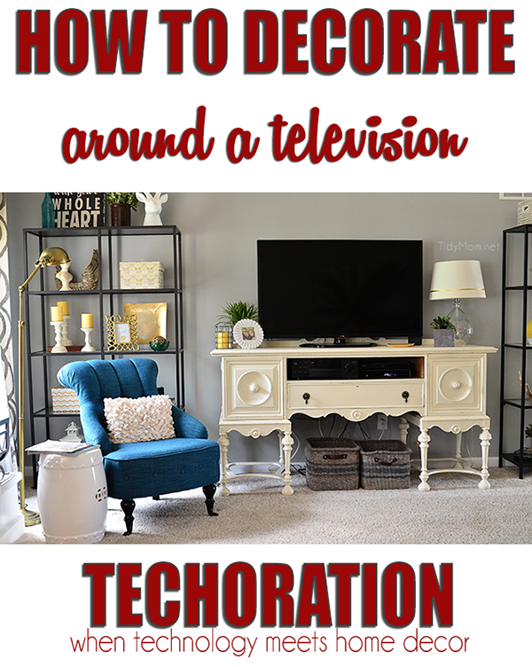 How to Decorate Around a Television. #Techoration at TidyMom.net