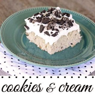 The perfect cool dessert for potlucks- Cookies and Cream Poke Cake recipe at TidyMom.net