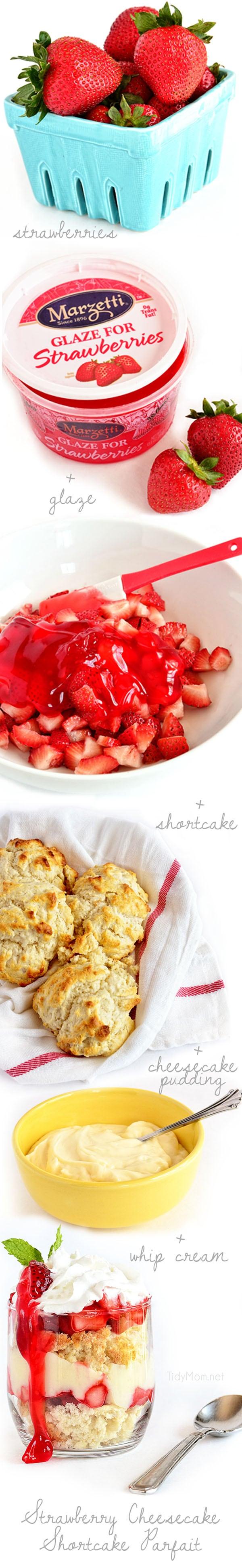 How to make Strawberry Cheesecake Shortcake Parfait recipe at TidyMom.net