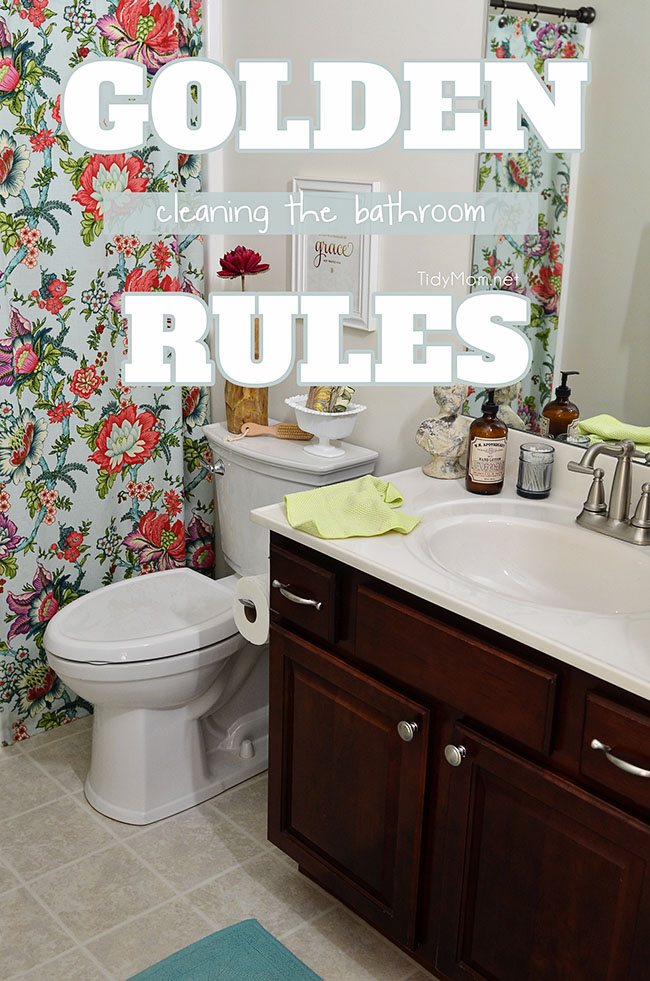 Cleaning the bathroom… It's a dirty job, but somebody has to do it. right?  A lot of messes can happen in the bathroom, follow these simple rules for how to clean the bathroom without spending hours cleaning up after everyone else. TidyMom.net