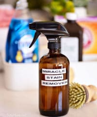 homemade stain remover in a brown glass spray bottle