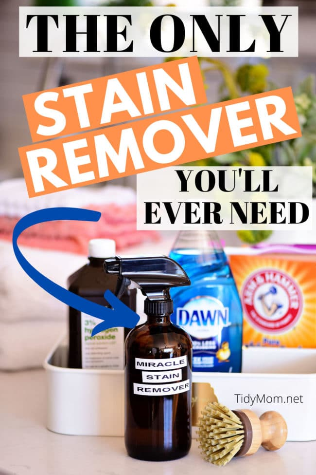 diy stain remover in a brown bottle with ingredients behind it
