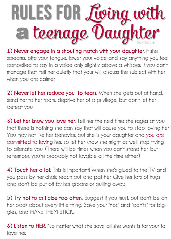 6 Rules For Living With A Teenage Daughter