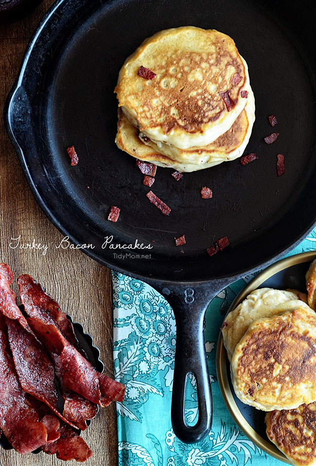 Turkey Bacon Pancakes with Cranberry Maple Syrup recipe at TidyMom.net