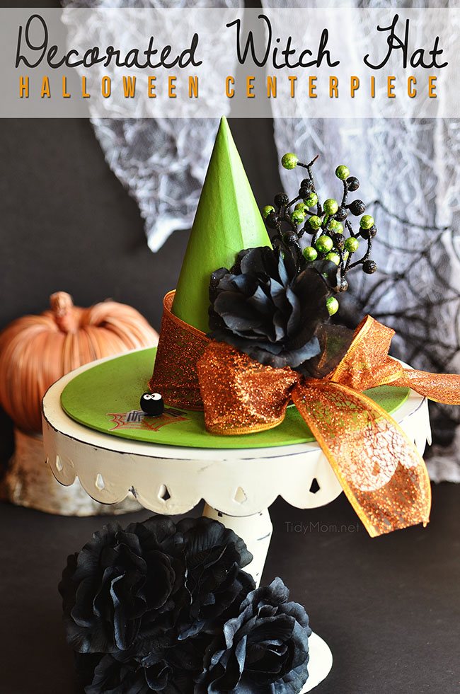 Easy Halloween Craft! Decorated Witch Hat Centerpiece at TidyMom.net
