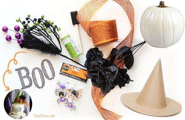 Decorated Pumpkin Witch Hat supplies