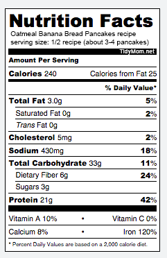Nutrition information for Low Fat High Fiber Oatmeal Banana Bread Pancakes recipe at TidyMom.net