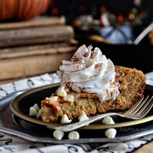 Pumpkin Cheesecake Skillet Blondie recipe at TidyMom.net