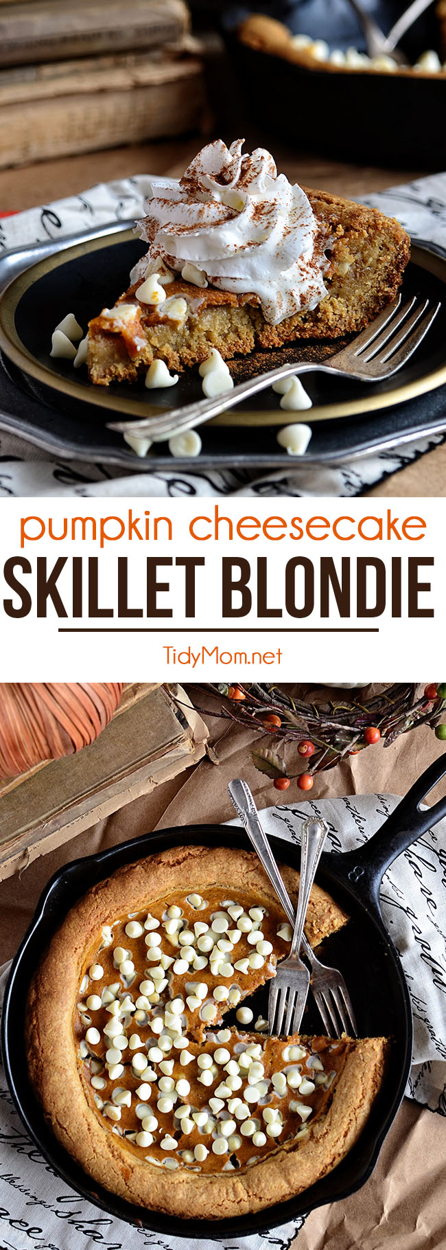Take the great taste of pumpkin pie and give it an upgrade. Pumpkin Cheesecake Skillet Blondie is a trifecta of flavors all in one decadent dessert, a first-class ticket to pumpkin heaven. Print the full recipe at TidyMom.net