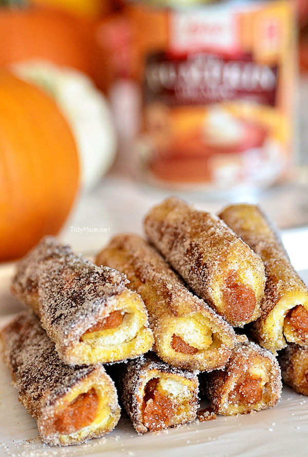 Walnut Pumpkin Pie French Toast Roll Ups. Recipe at TidyMom.net