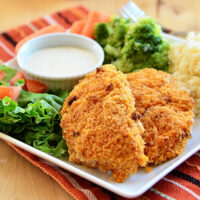 Crispy Oven Fried Buffalo Ranch Chicken Strips