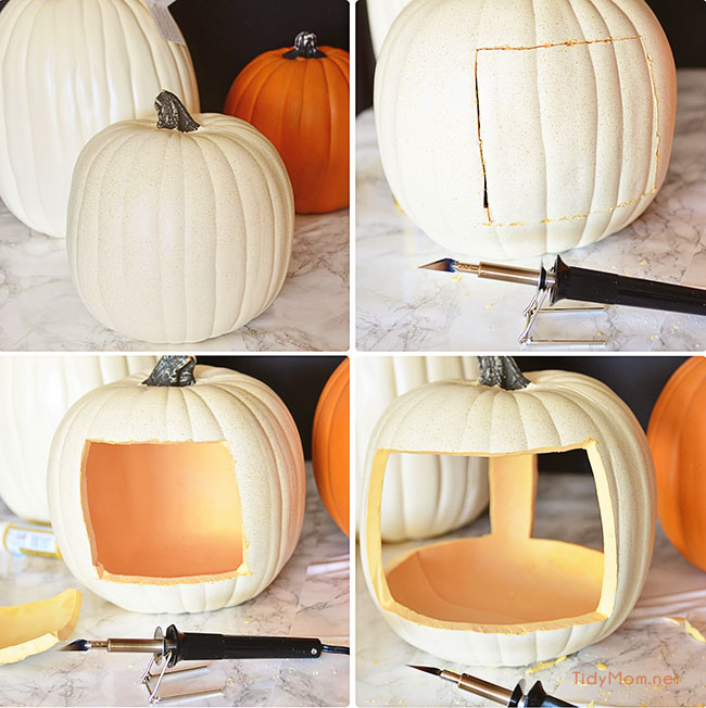 cut openings in faux pumpkin for planter at TidyMom.net