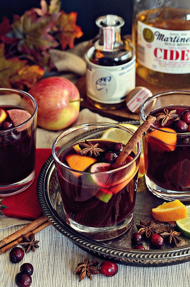 Mulled Wine in glasses on a tray