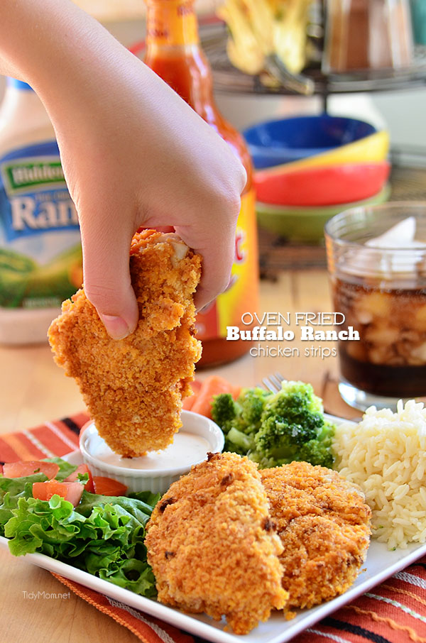 Crispy Oven Fried Buffalo Ranch Chicken Tenders recipe at TidyMom.net