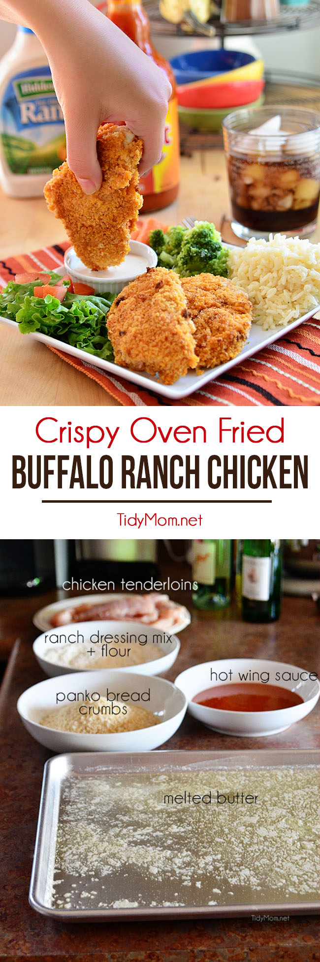 These crispy oven fried Buffalo Ranch Chicken strips are crisp-crusted moist and tender fiery buffalo sauce slathered where's the ranch dip chicken fingers. Get the recipe at TidyMom.net #buffalochicken #ranch #chicken #chickendinner