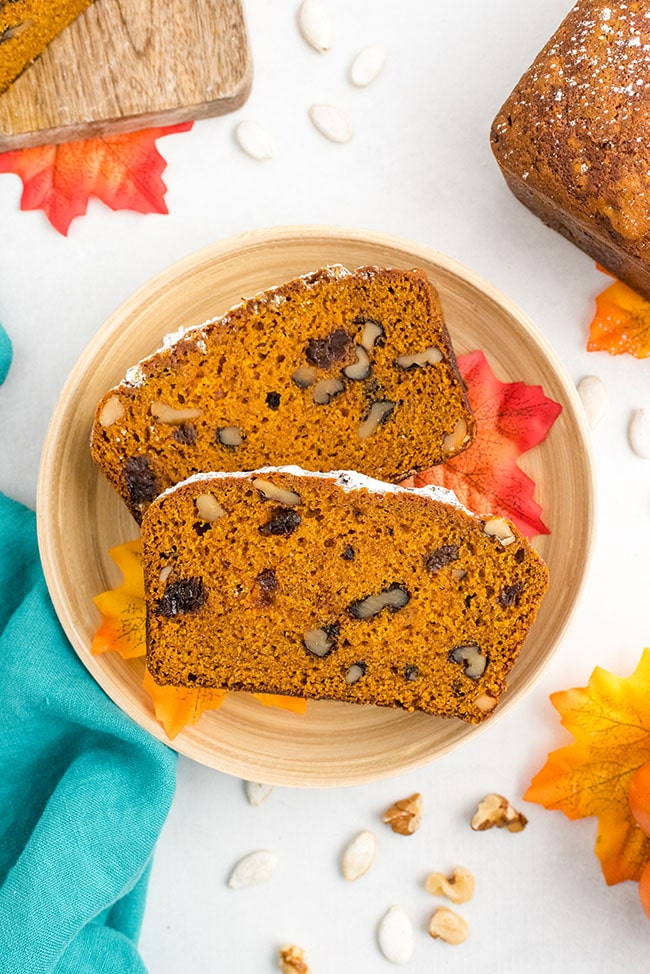 Two slices of pumpkin bread on a plate