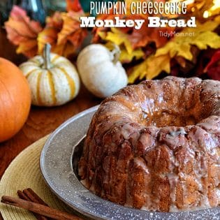 Pumpkin Cheesecake Monkey Bread recipe at TidyMom.net
