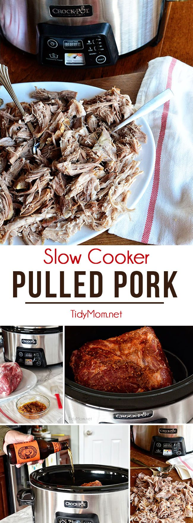 This easy recipe for slow cooker pulled pork is a crowd pleaser and great dish for cooking once, eating twice! get the recipe at Tidymom.net