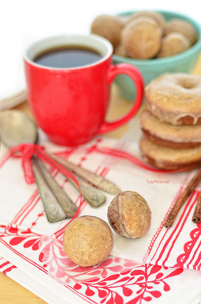 Apple Cider Donut Holes recipe at TidyMom.net