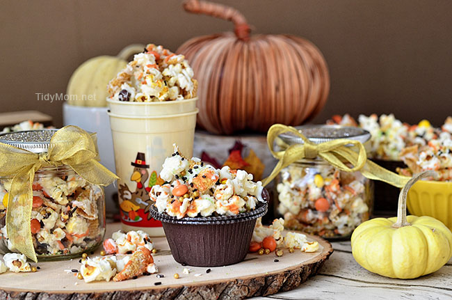 Fall Popcorn and Bugles snack mix recipe at TidyMom.net