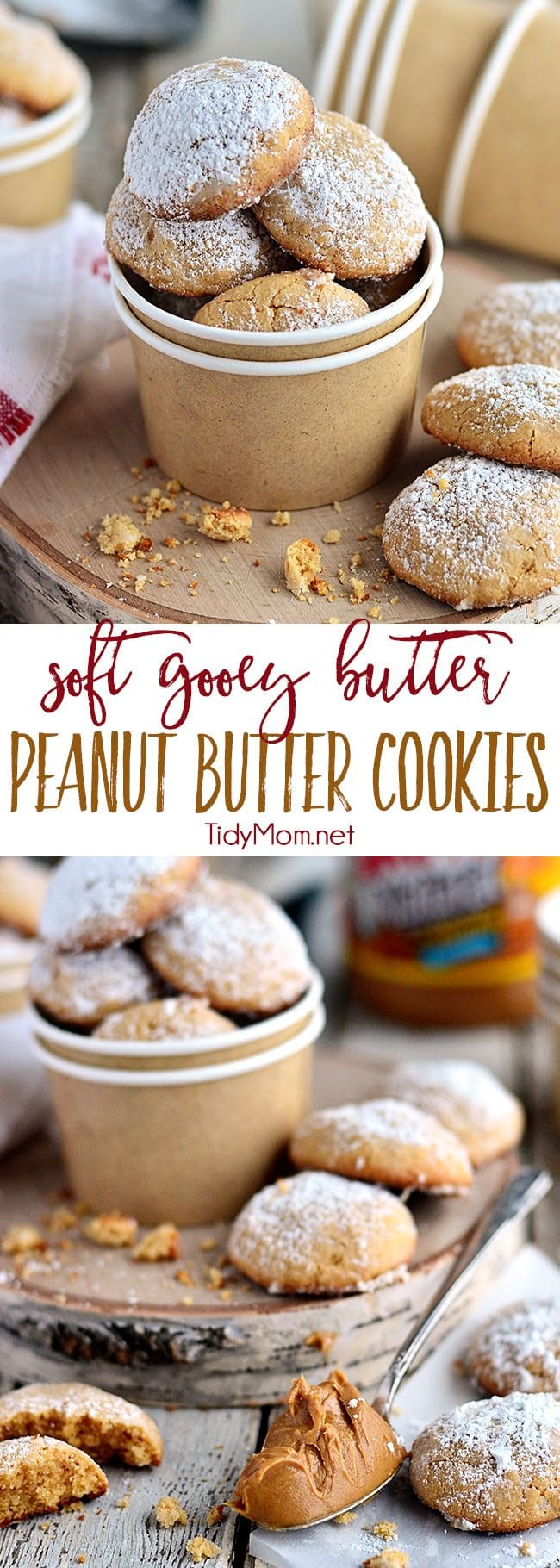 Gooey Butter Peanut Butter Cookies disappear fast! They are a peanut butter twist on the gooey butter cake made into a soft delicious peanut butter cookies. What's not to love about a cookie with butter in the name TWICE?! Print the delicious full recipe at TidyMom.net