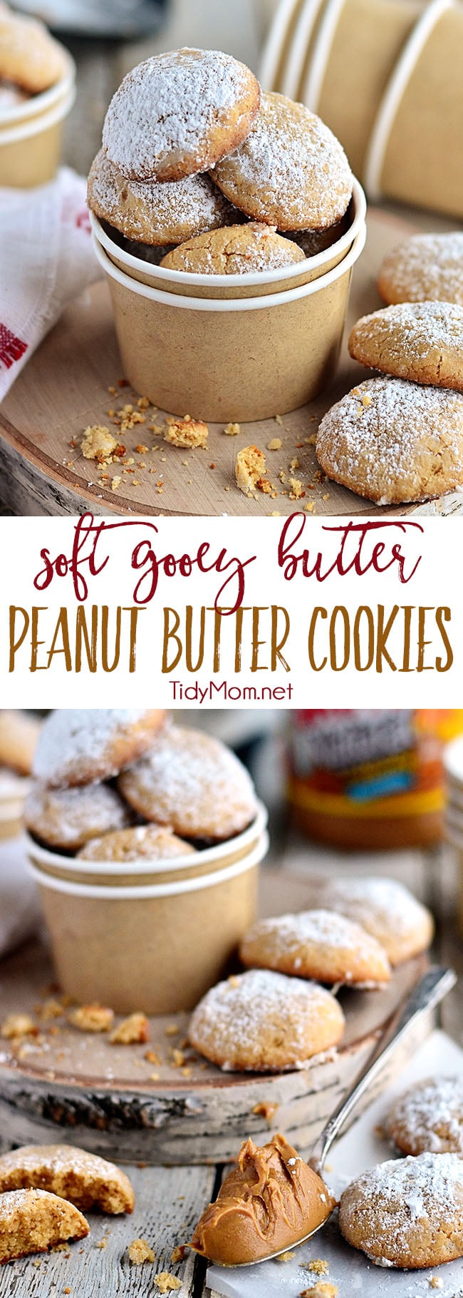 Gooey Butter Peanut Butter Cookies disappear fast! They are a peanut butter twist on the gooey butter cake made into a soft delicious peanut butter cookies. What's not to love about a cookie with butter in the name TWICE?!  Print the delicious full recipe at TidyMom.net #peanutbutter #cookies #cookierecipe #gooeybutter