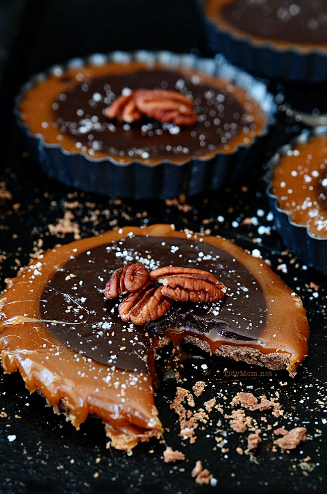 Salted Caramel Chocolate Tarts. A simple yet elegant dessert recipe at TidyMom.net