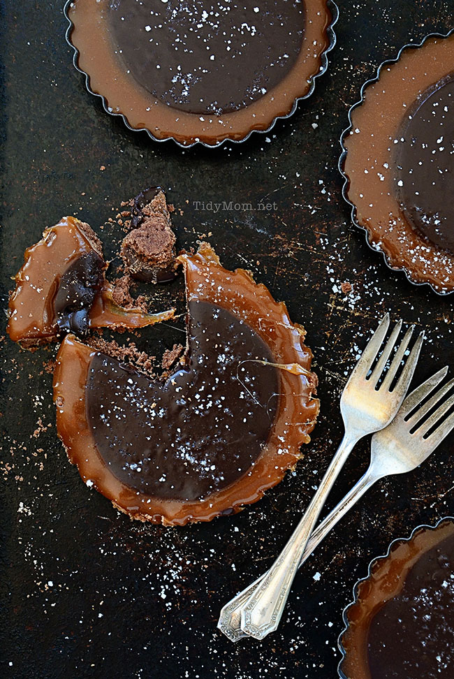 Elegant Salted Caramel & Chocolate Tart recipe at TidyMom.net